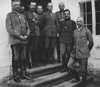 Gerhard Tappen - Tappen with German and Bulgarian commanders in Serbia 1915. From right to left: Erich von Falkenhayn, Boris of Bulgaria, Hans von Seeckt, Gerhard Tappen, Petar Ganchev, Nikola Zhekov and August von Mackensen.