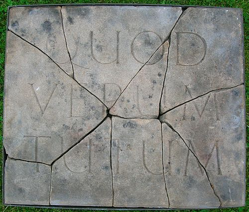 Quad verum tutum stone (What is true is right), Spier's, Beith