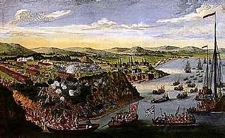Conquest of 1760 - Depiction of the Battle of the Plains of Abraham in 1759, a decisive British victory that led to their occupation of Quebec City.