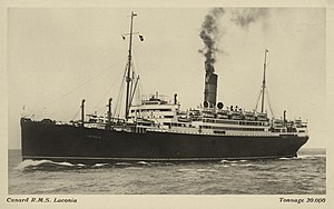 Laconia incident - Cunard Line postcard of the RMS Laconia, circa 1921