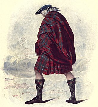 Clan MacAulay - R.R. McIan's Victorian era romanticised depiction of a member of Clan MacAulay. The tartan depicted is not the most common 'MacAulay' tartan today; but a tartan attributed to Clan Cumming.