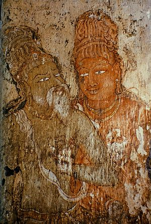 Brihadisvara Temple, Thanjavur - A mural of Rajaraja I and his guru.