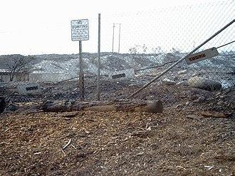 Alta Loma, Rancho Cucamonga, California - Burned area of Cucamonga Canyon, near water basin, at western end of Banyan Street in Alta Loma.  San Bernardino County unincorporated land.  Grand Prix Fire, 25 October 2003.