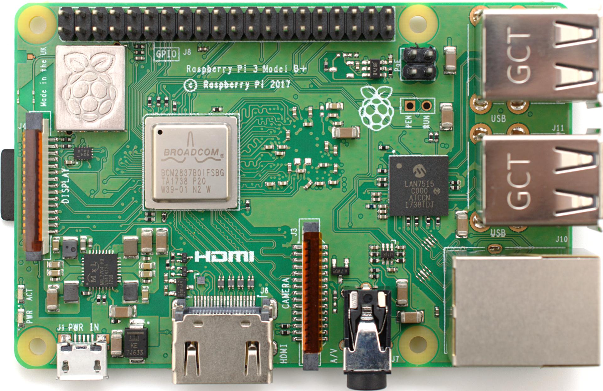 Raspberry Pi 3 Model B+.