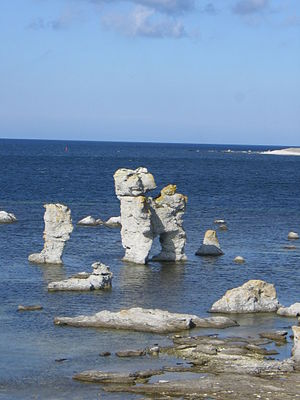 Stack (geology) - Stacks at the island of Fårö east of the mainland of Sweden