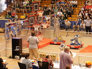 Rebound Rumble - Two robots scoring baskets simultaneously
