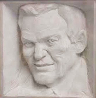 Red Wallace - Bas-relief sculpture of Red Wallace at the Elk Lake (Pa.) High School gym which bears his name