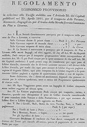 Il primo regolamento della ferrovia