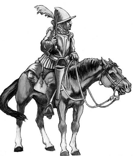 German Reiter cavalryman, circa 1577. Burghley was using an English-financed Reiter army as proxies in his subversion of France and Spain.