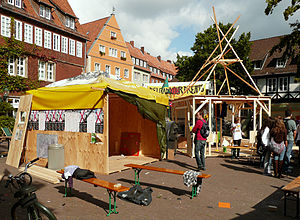 Free Republic of Wendland - A reproduction of the huts typical for the Republik Freies Wendland protest camp in Hanover in 2010.