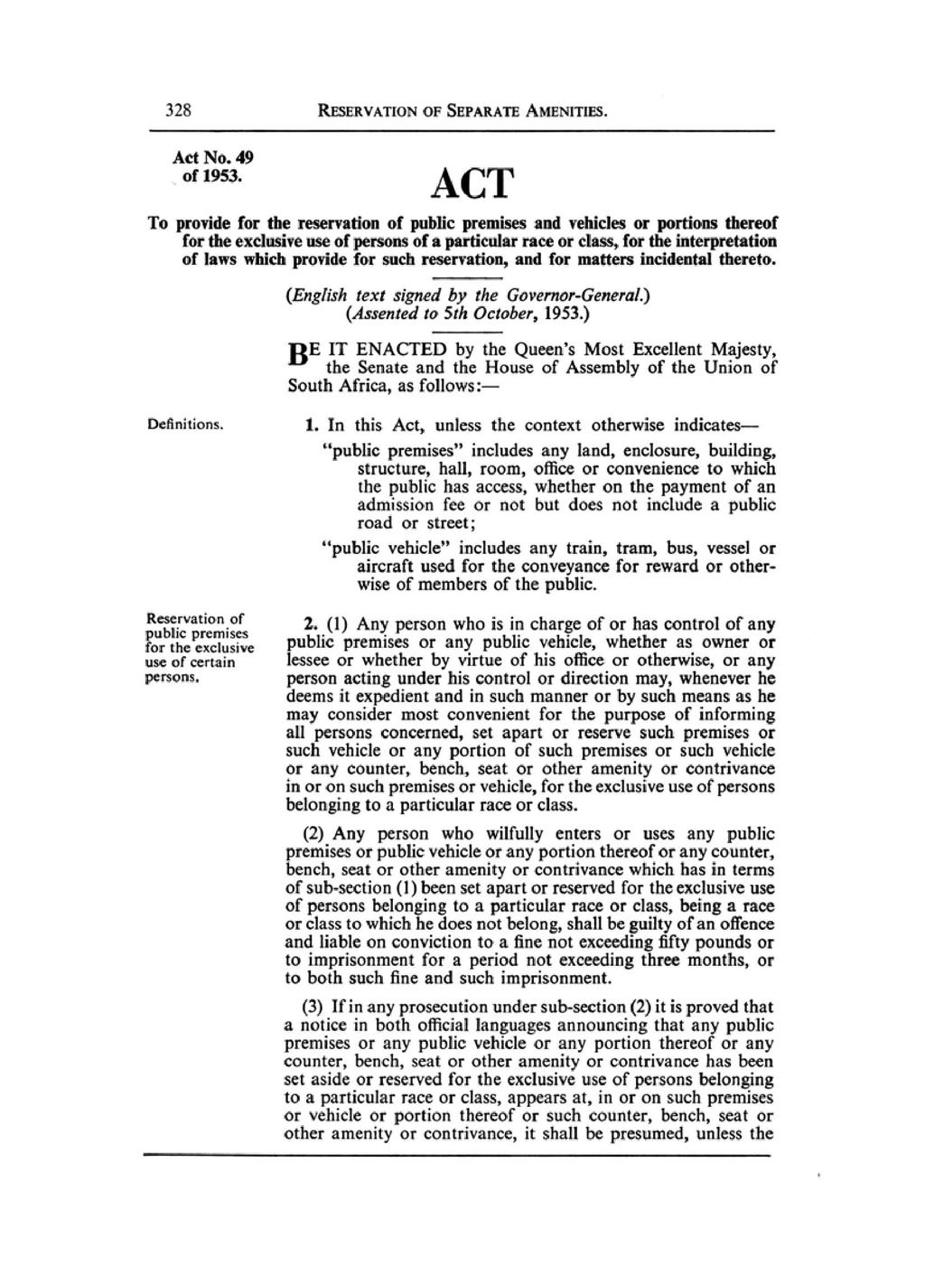 Page:Reservation of Separate Amenities Act 1953 pdf/1