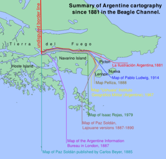 "Beagle conflict - Different Argentine Interpretations of the Boundary treaty of 1881. The red line of ""La Ilustración Argentina"", chronological the first one and the Chilean one, is currently valid. See maps in Beagle Channel cartography since 1881"