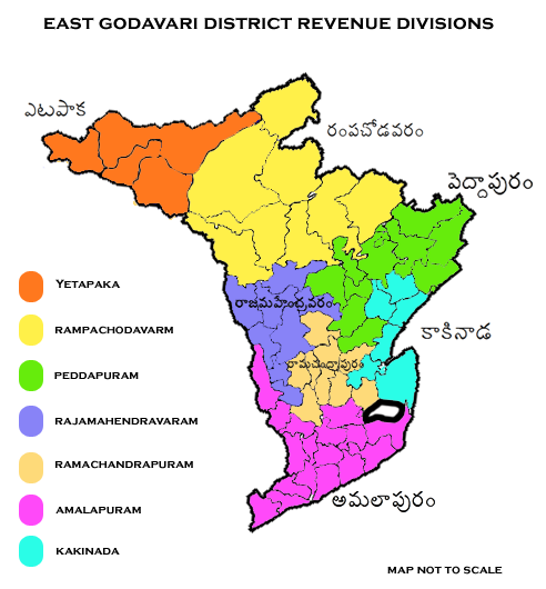 Revenue divisions map of East Godavari district