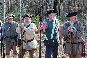 Battle of Great Cane Brake - American Revolution militia reenactors in upstate South Carolina (2016).