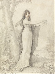 Portrait of a Lady Standing near a Lake