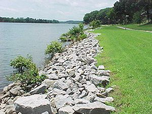 Hydraulic engineering - Riprap lining a lake shore
