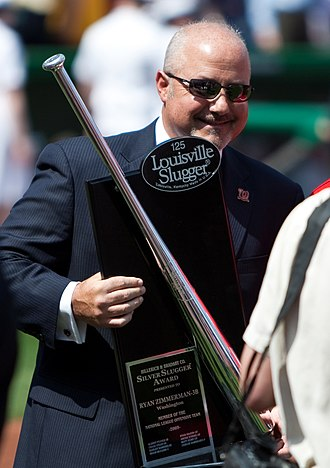 Silver Slugger Award - Washington Nationals general manager Mike Rizzo holds Ryan Zimmerman's Silver Slugger Award.
