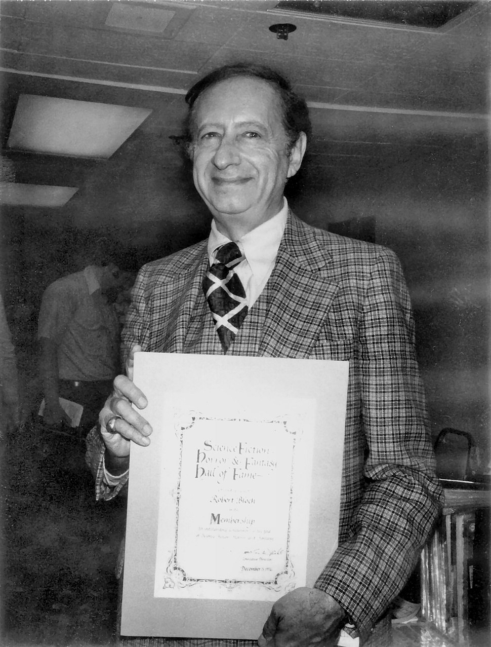 Robert Bloch with His Award