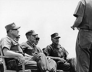 Donn J. Robertson - LTG Robert E. Cushman, Jr. (CG III MAC), GEN Wallace M. Greene (CMC) and MG Donn J. Robertson, (CG 1st Marine Division) listening to map briefing by LTC John D. Counselman, Commanding Officer 3rd Battalion, 7th Marines, Da Nang 1967.