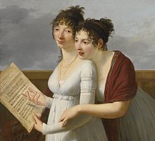 Portrait by Robert Lefèvre of two elegantly dressed Ladies, with sheet music of Aire de Maison à vendre (Source: Wikimedia)