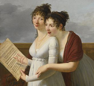 Nicolas Dalayrac - Portrait by Robert Lefèvre of two elegantly dressed Ladies, with sheet music of Aire de Maison à vendre