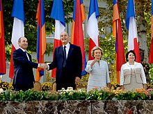 Robert Kocharyan, Jack Chirac, Bella Kocharyan and Bernadette Chirac in Yerevan.JPG