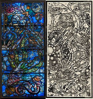 Whitney Museum of American Art (original building) - Stained glass window (and sketch) by Robert Winthrop Chanler, originally in the Whitney Studio