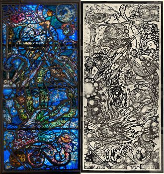 Robert Winthrop Chanler - Robert Winthrop Chanler, Stained Glass window (one of seven, with a study drawing) in the Whitney Studio, New York City, 1918–1923. Private Collection