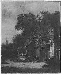 Bauernhaus unter Bäumen