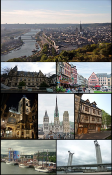 From top to bottom, from left to right: partial view of the city and the Seine from Côte Sainte-Catherine; the courthouse; Place du Vieux-Marché; rue du Gros-Horloge, at night; Notre-Dame Cathedral; the National Museum of Education; sailboats during the 2019 edition of the Armada; the Gustave-Flaubert Bridge.