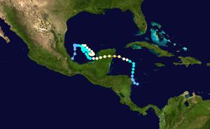 Hurricane Roxanne - Image: Roxanne 1995 track