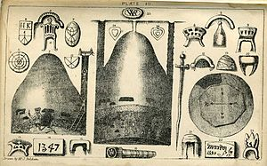 Royston Cave - Plate III from Joseph Beldam's book The Origins and Use of the Royston Cave, 1884 showing the shape and floor plan of the cave.
