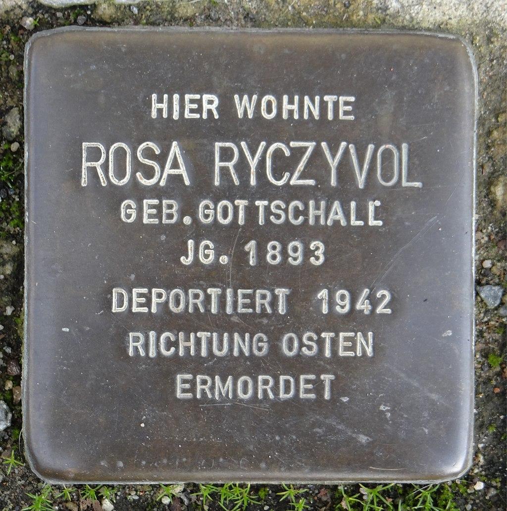 Ruesselsheim am Main Stolperstein Schäfergasse 20 Rosa Ryczyvol.jpg