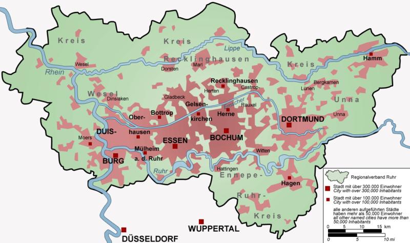 Das Ruhrgebiet | Quelle: Wikipedia, freie Lizenz