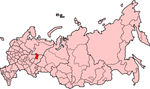 Map showing Komi-Permyakia in Russia