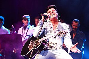 Elvis impersonator - An impersonator performing as Elvis