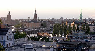 Largest metropolitan areas in the Nordic countries - Image: Södermalmstorg and Stockholm skyline from Södermalm
