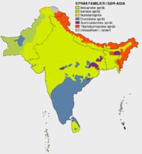 Språkkart over det indiske subkontinentet.