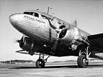 SAS DC-3 Orvar Viking SE-BBO, on the ground, at the airport 1940s.jpg