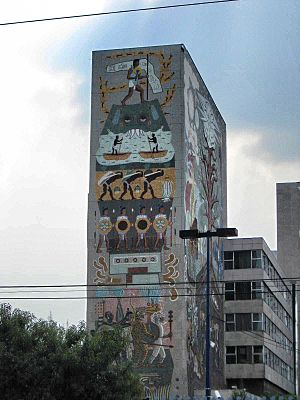 Secretariat of Communications and Transportation (Mexico) - Close up of the mural of the tower portion of the headquarters used in the 1970s.