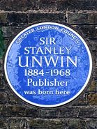 SIR STANLEY UNWIN 1884-1968 Publisher was born here