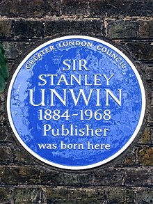SIR STANLEY UNWIN 1884-1968 Publisher was born here.jpg