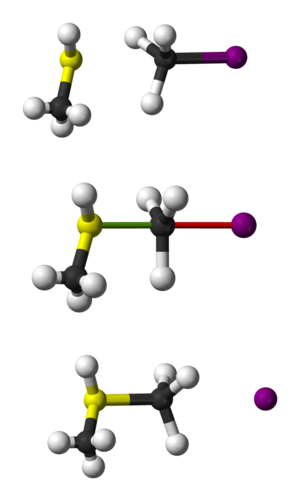 SN2 reaction - Ball-and-stick representation of the SN2 reaction of CH<sub>3</sub>SH with CH<sub>3</sub>I