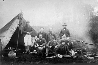 Percy Smith (ethnologist) - Stephenson Percy Smith and his survey party in a bivouac at the foot of Mount Tarawera, 1886.