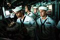 Sailors aboard USS Boxer as ship gets underway. (9601484570).jpg