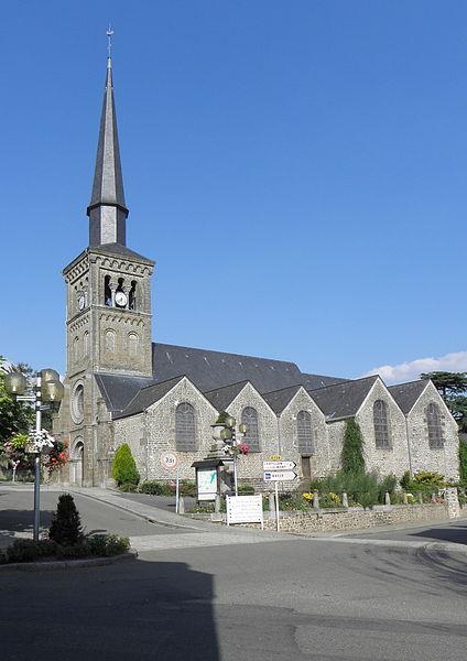 Vue méridionale de l'église de Saint-Denis-de-Gastines (53).