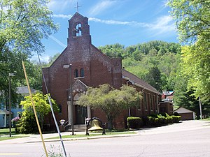 Dillonvale, Jefferson County, Ohio - Saint Adalbert Roman Catholic Church on corner of Routes 150 and 152
