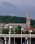 Saint John the Evangelist Church (Covington, Kentucky) - view from the east side of I-75