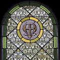 Saint Wendelin Church (Saint Henry, Ohio) - stained glass, sacristy, Alpha Omega.jpg