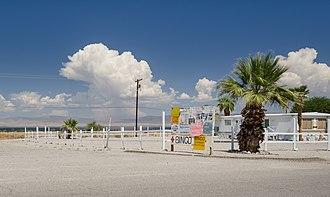 Salton Sea Beach, California - Blackboard on Brawley Avenue at the entry of Salton Sea Beach
